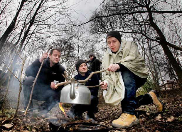 Steven Freaks, Tesco's community champion Keith Moorby, Martin Crossland and Jordan Blair indulging in a spot of extreme camping