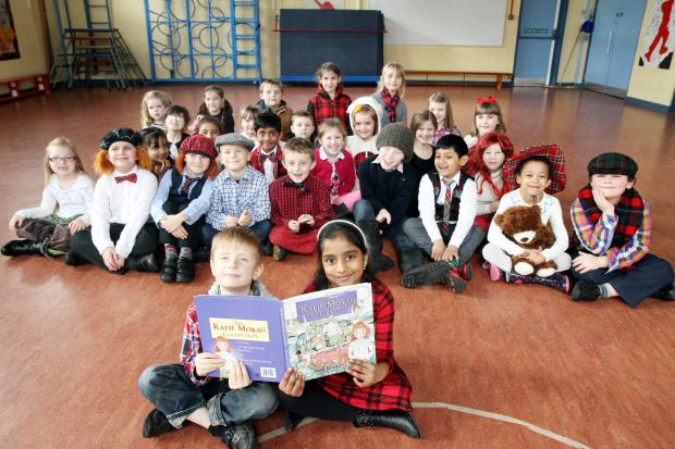 Pupils from Eastburn Junior and Infant School in their Scottish garb