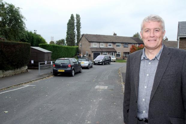 Councillor Andrew Mallinson at the  site on Thornhill Road, Steeton, where yellow lines are to be painted