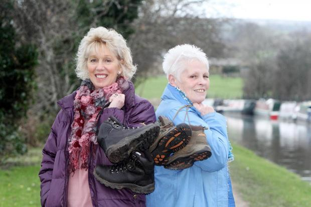 Barbara Staveley, left, and Pauline Howard will complete a towpath walk to raise funds for Callum Ingham