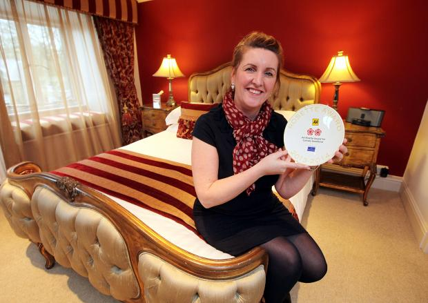 Grassington House Hotel owner Sue Rudden in one of the rooms