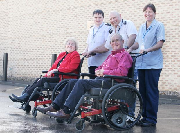 Eileen Proud, Paul Colquith, Bob Smithies, David Petyt and Sheila Richards with the new wheelchairs