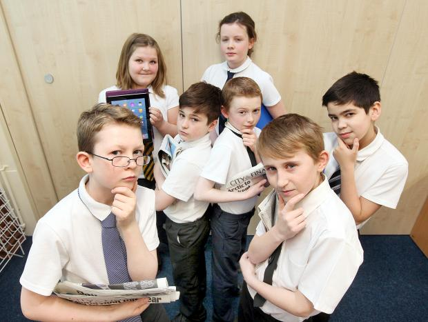 Food for thought: Hellifield Primary School pupils William Beresford, Hannah Binns, Josh Newhouse, Rhys Watmough, Tilly Holt, Charlie Leverton and Ricardo Quintas