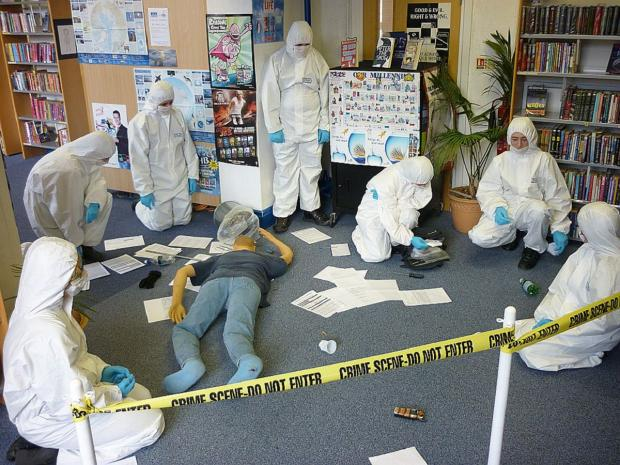 Pupils at West Craven High Technology College, Barnoldswick, gather forensic evidence