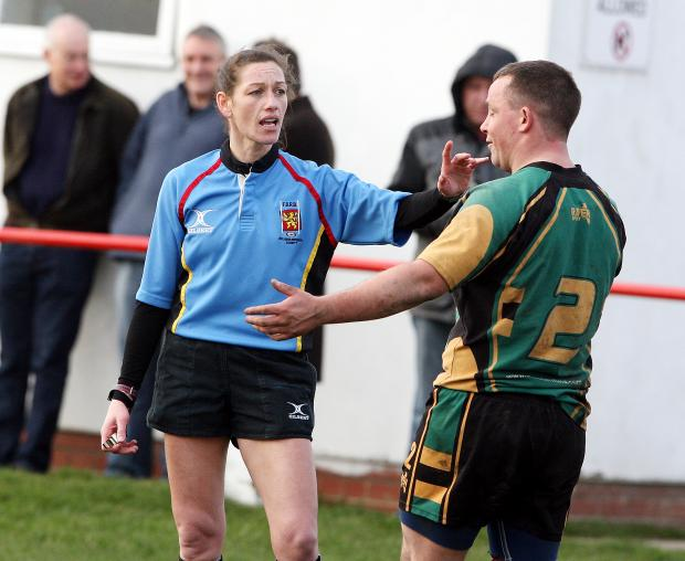 Craven Herald: Referee Coralie Greban shows who is boss