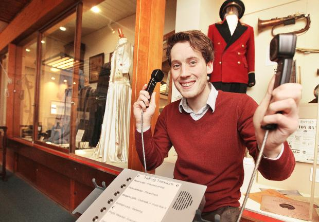Craven Herald: Curator Martin Wills is pictured with the new audio machine