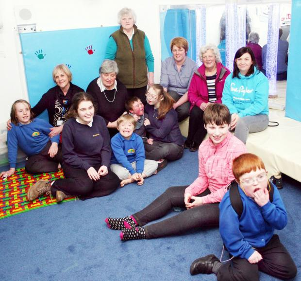 In the sensory room at Brookands are, from left, deputy head Liz Buffett, Cath Cromarty, Christine Clarkson, Helen Herd, Dorothy Dean and Manorlands' Rachel Cunningham.