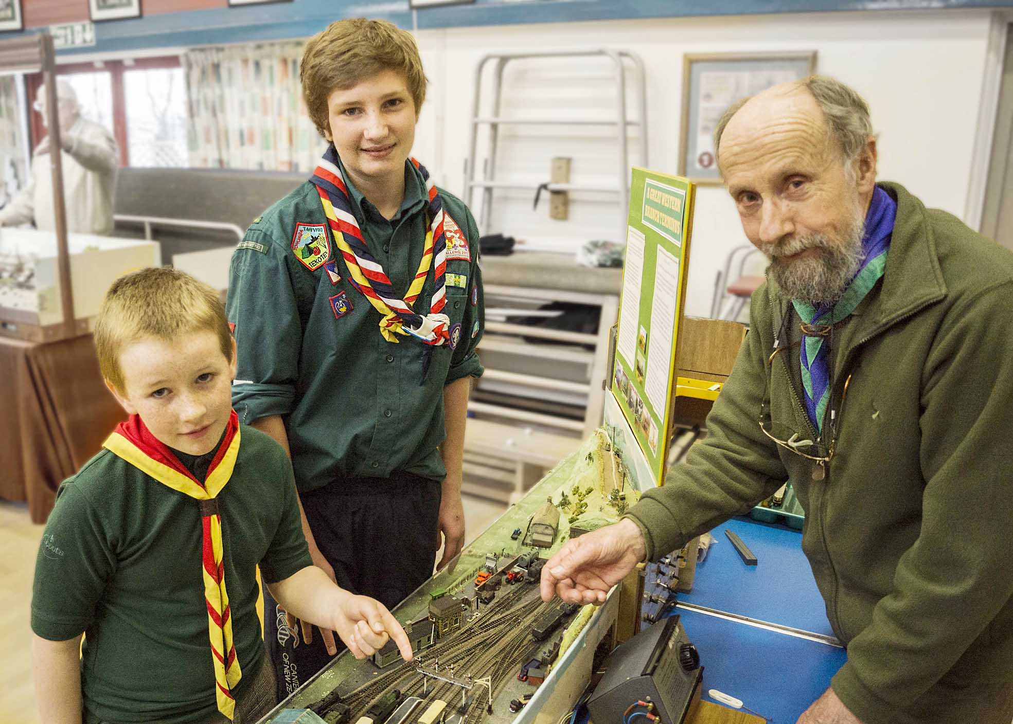 TRAINS: Former district chairman Norman Dray who had the winning layout at the Scout Rail Fair in Settle. He is pictured with Tom Lothian and William Arber from Settle Scout Troop and Cub Pack