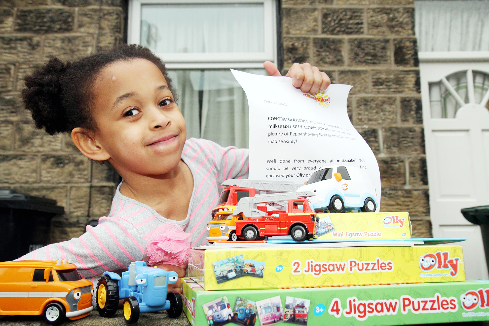 SUCCESS STORY: Amina Touray of Steeton with some of the prizes she won in a Channel 5 competition