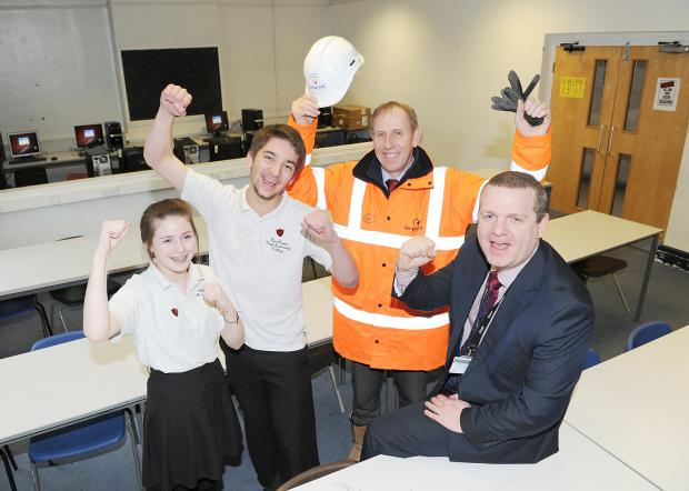 Celebrating: head girl Emily Cox, head boy James Goodall, Keepmoat project manager Mike Burridge and headteacher Craig Baker
