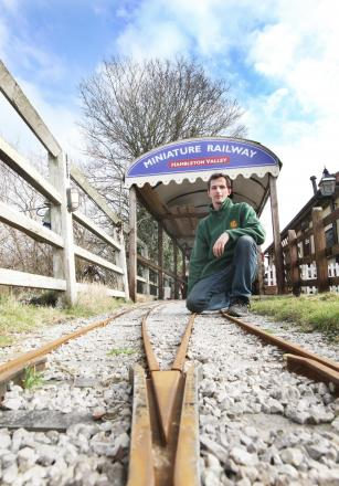 STOPPED IN THEIR TRACKS: Embsay and Bolton Abbey Steam Railway volunteer Tim Wainer at the miniature railway