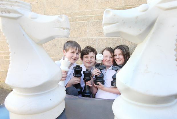Josh Kilner, Harry Painter, Sophie Nelson and Rebecca Sharp at the new chess club