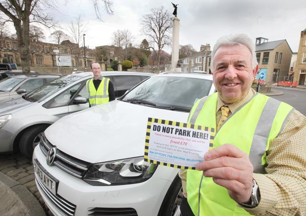 BUSINESS CONCERNS: Jason Miller and Roger Newhouse launch the Skipton Parking Buddies campaign to protect drivers from parking fines