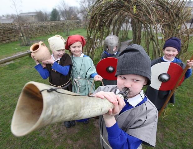 VIKING CALL: Embsay Primary School pupils Isabel Willis, Lana Davy, Charlie Dawson, Albert Patterson and George Archer enjoy a Viking history workshop at the school