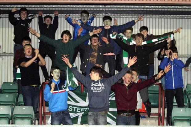 Steeton's supporters enjoy themselves during the club's 1-0 West Riding County FA Challenge Cup semi-final victory over Goole United