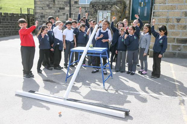 Craven Herald: The egg-rolling competition at Steeton Primary School