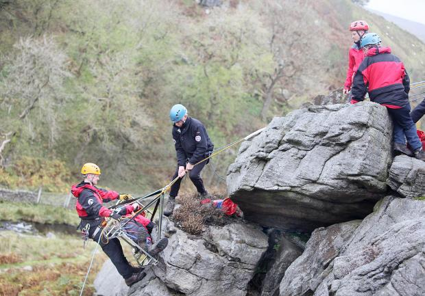 IN ACTION: Upper Wharfedale Fell Rescue Association takes part in a training exercise