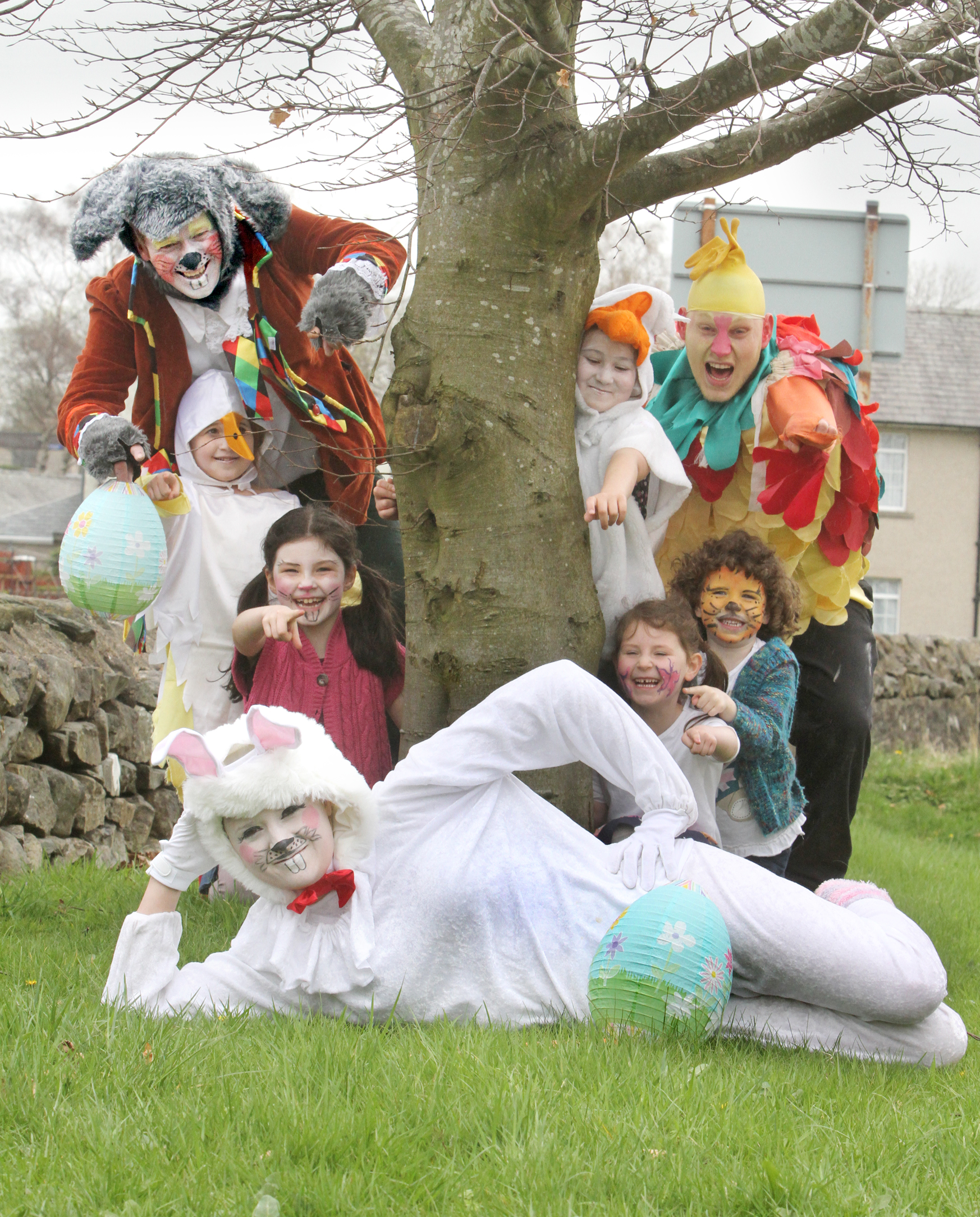 RABBITING ON: Ready for the Ingleton Easter Egg Hunt are Lesley Nemeth, Violet Brookdale, Jessica Nemeth, Dan Nemeth, Hazel Brookdale, Amilie Ashton, Kabel Taylor and Sophie Nemeth