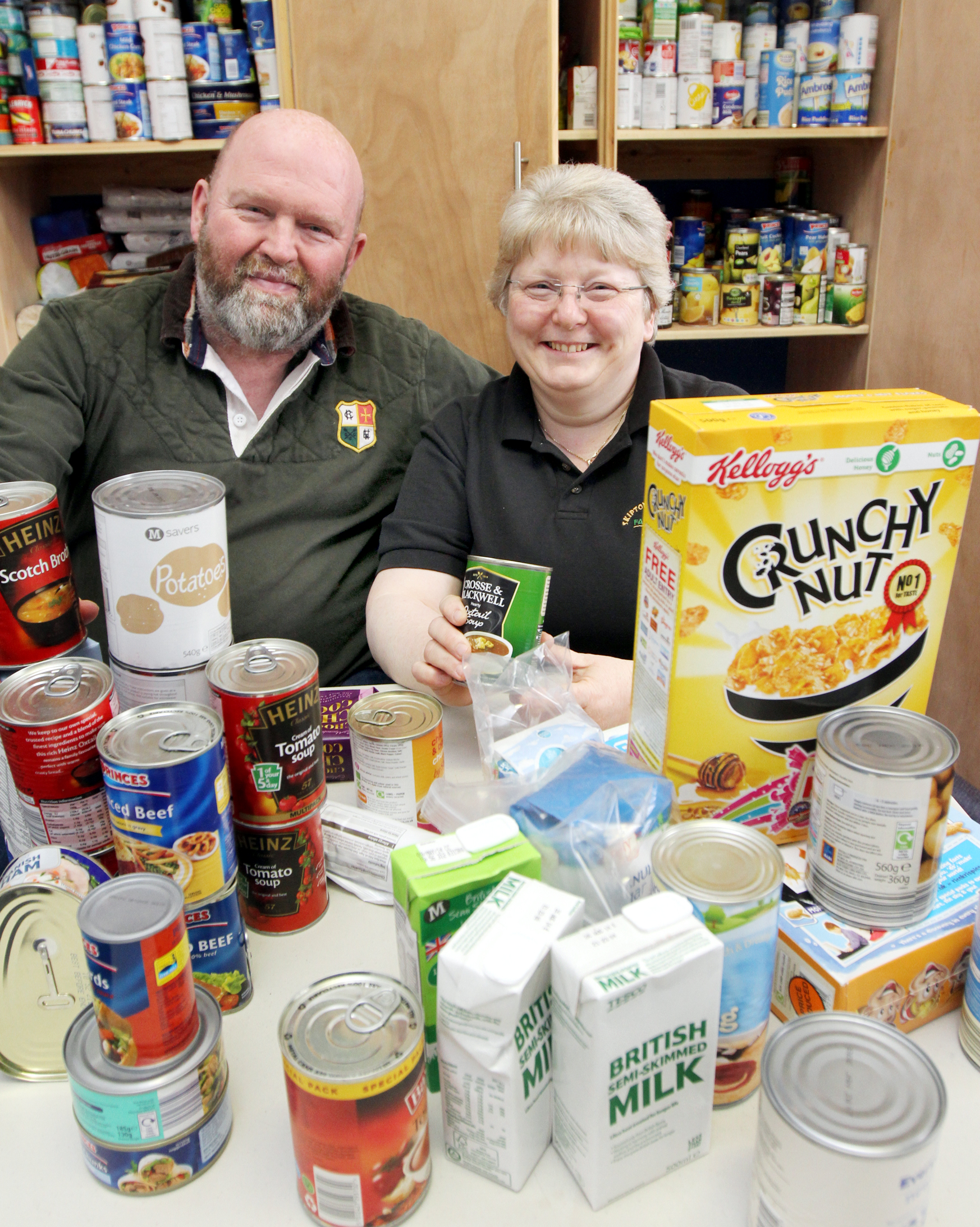 FOOD FOR THOUGHT: Minister in training Michael Dewhirst and   co-ordinator Ella Smith celebrate Skipton Food Bank, based at Skipton Baptist Church, gaining £19,000 over the next two years