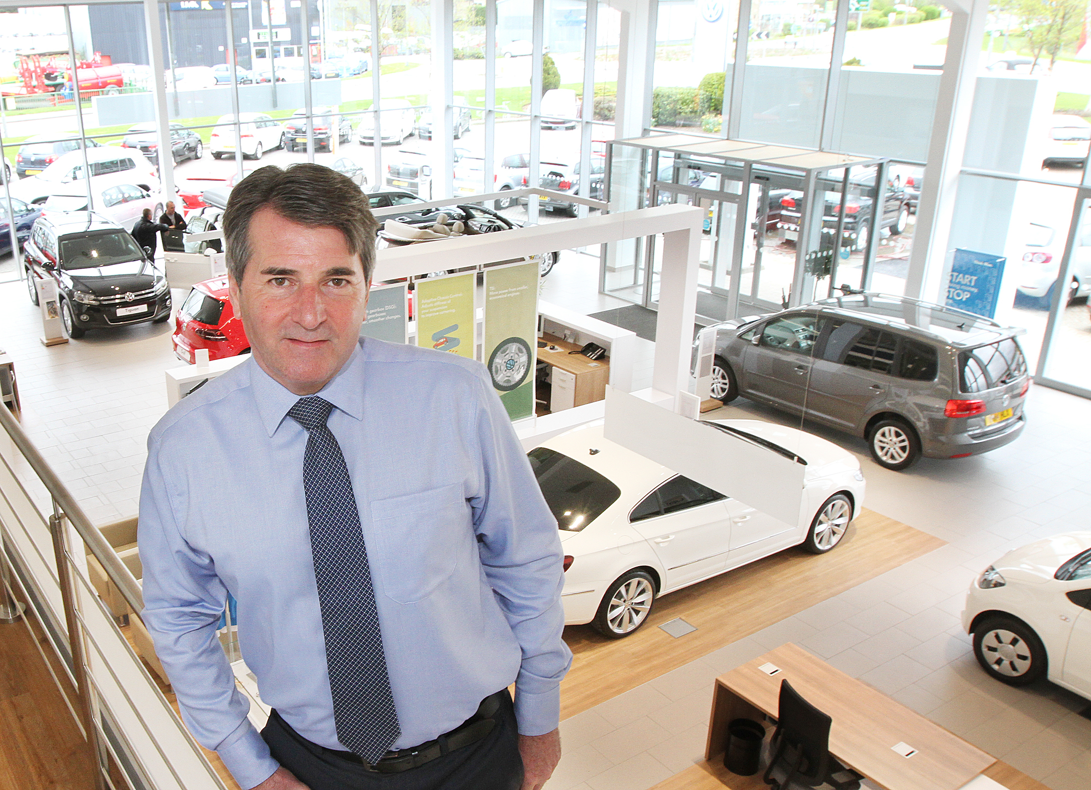 REVAMP: Owner Frank Greenway unveils the new £500,000 refurbishment to the showroom and service areas at White Rose VW, Cross Hills