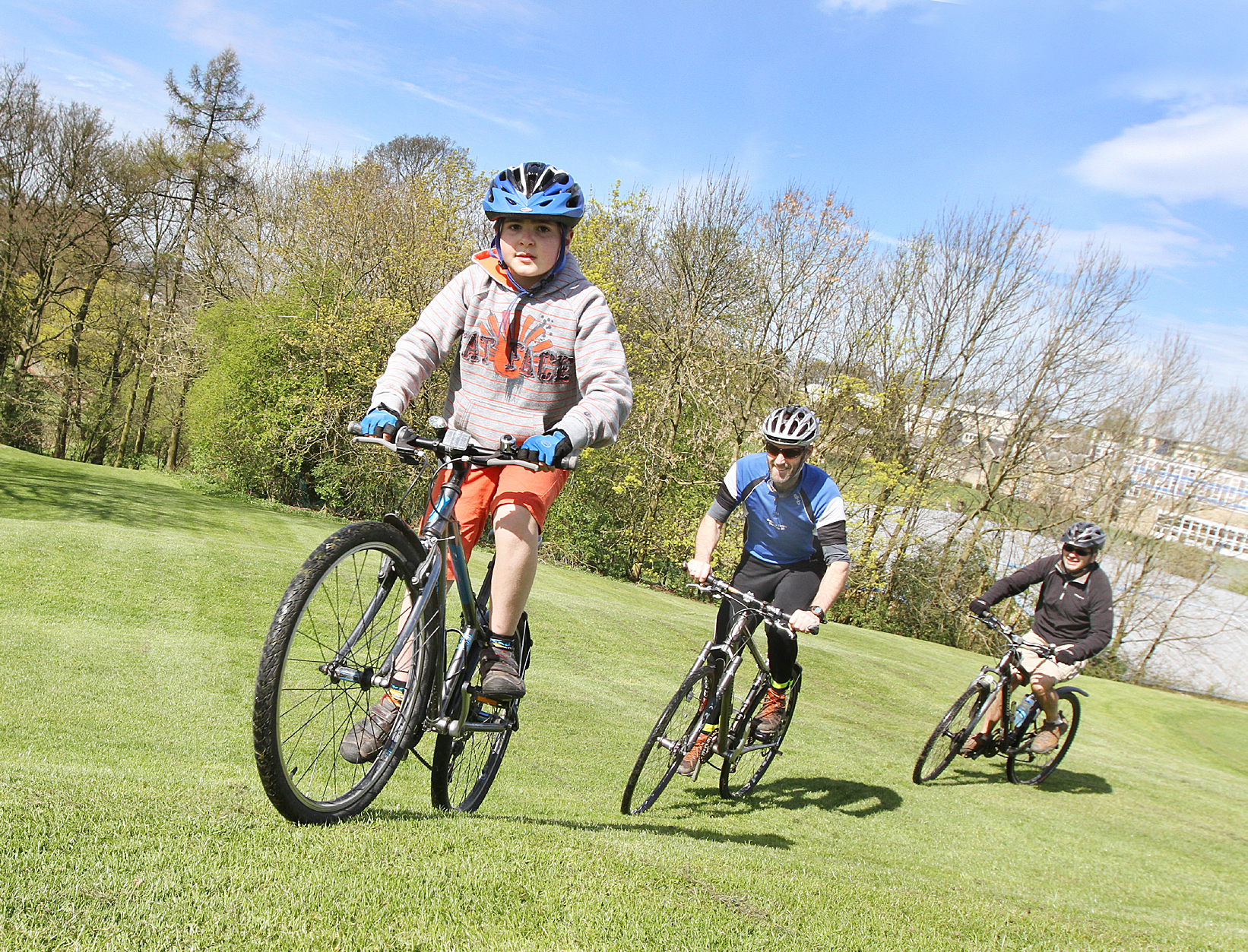 GUIDE: Craven District Council's Tour de France family bike riding trails are launched in Skipton's Aireville Park, with James Iannaccone, Bruce Dinsmore and Gerardo Innaccone trying out a route.