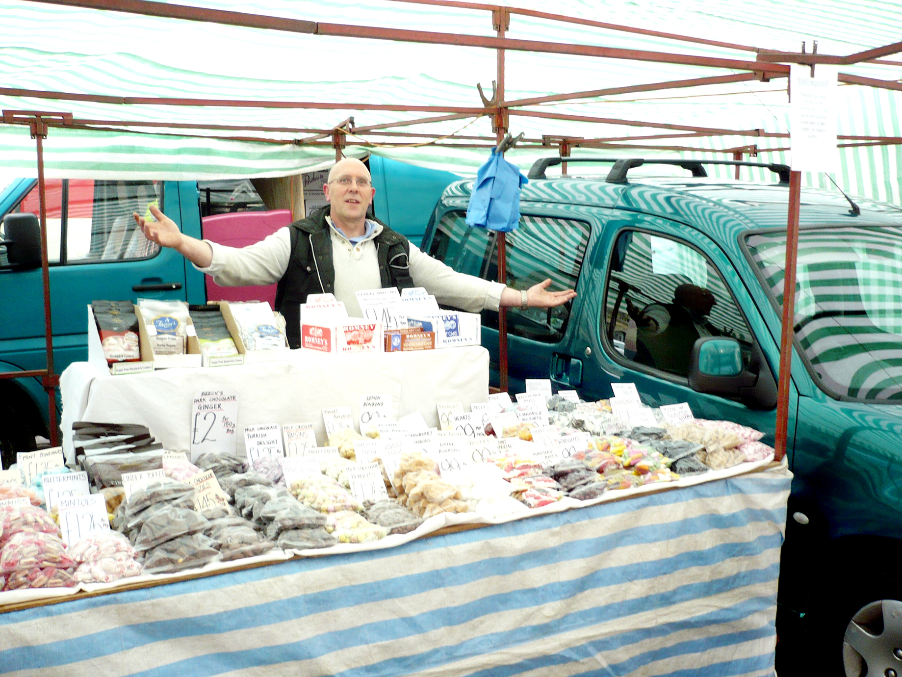 """THIS SHOWS HOW THINGS ARE NOT WORKING"": Skipton High Street trader John Louch, who had to put up his stall around a parked van."