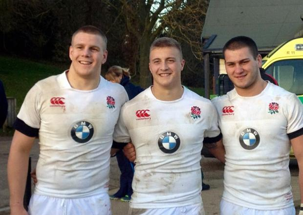 Englsand Under-20s players Paul Hill, left, and Jack Walker, centre, who havde been selected in the front for for Leeds Carnegie tomorrow. Also pictured is clubmate Lewis Boyce