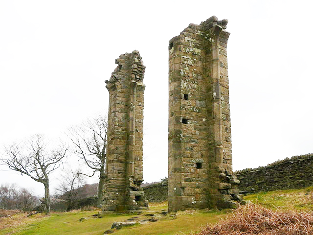 The remains of Yorke's Folly near Guise Cliff