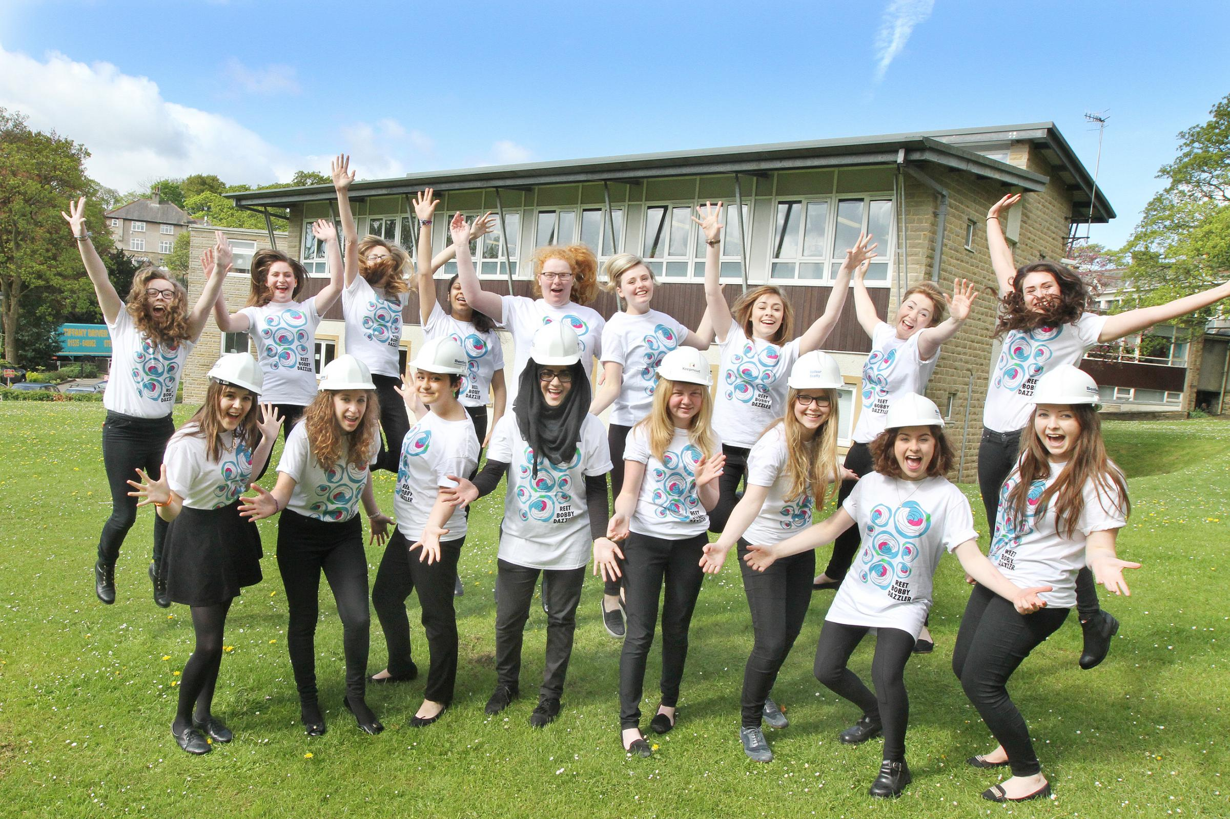 Students at Skipton Girls' High School celebrate a £1 million grant to provide a new teaching block