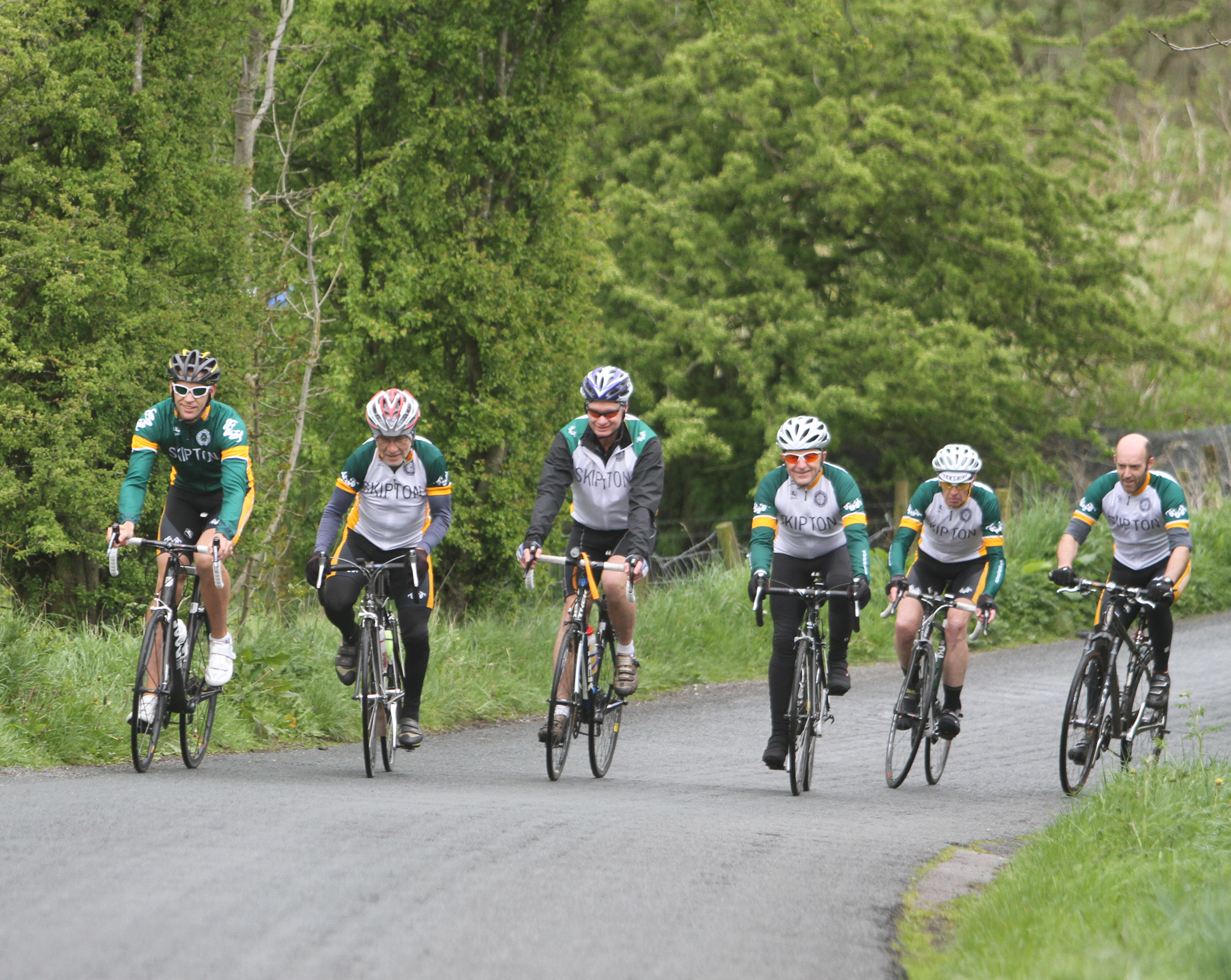 The launch of La Fete du Tour, a celebration of places that feature on the route of the Yorkshire leg of the Grand Depart, with members of Skipton Cycling Club riding near the Craven Heifer, Grassington Road, Skipton