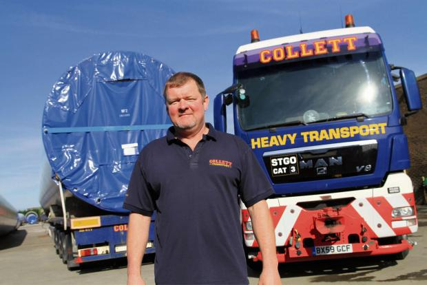 Craven Herald: Specialist HGV driver Mark Hancock from Steeton near Keighley, works for Collett a heavy haulage specialist from Halifax but with a big depot in Goole in East Yorkshire,  Mark, who works out of the Goole depot during the week had left  in the afternoon tr