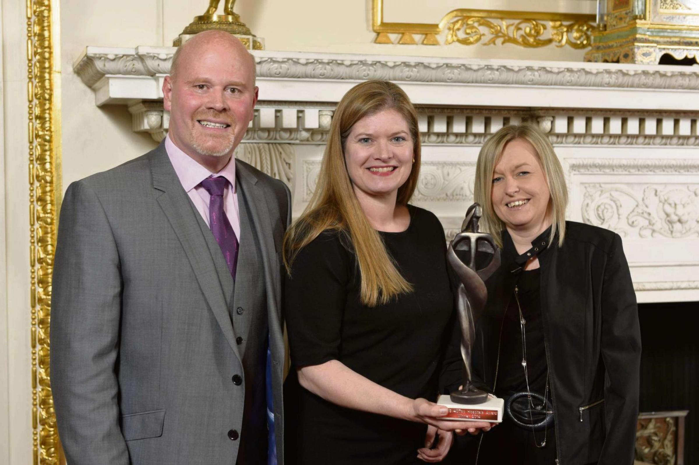 Airedale Hospital is named as one of the CHKS 40Top Hospitals 2014. Picture shows from the left are CHKS managing director Jason Harris, Airedale nurse consultant Rachel Binks and telemedicine manager Marie Buchan