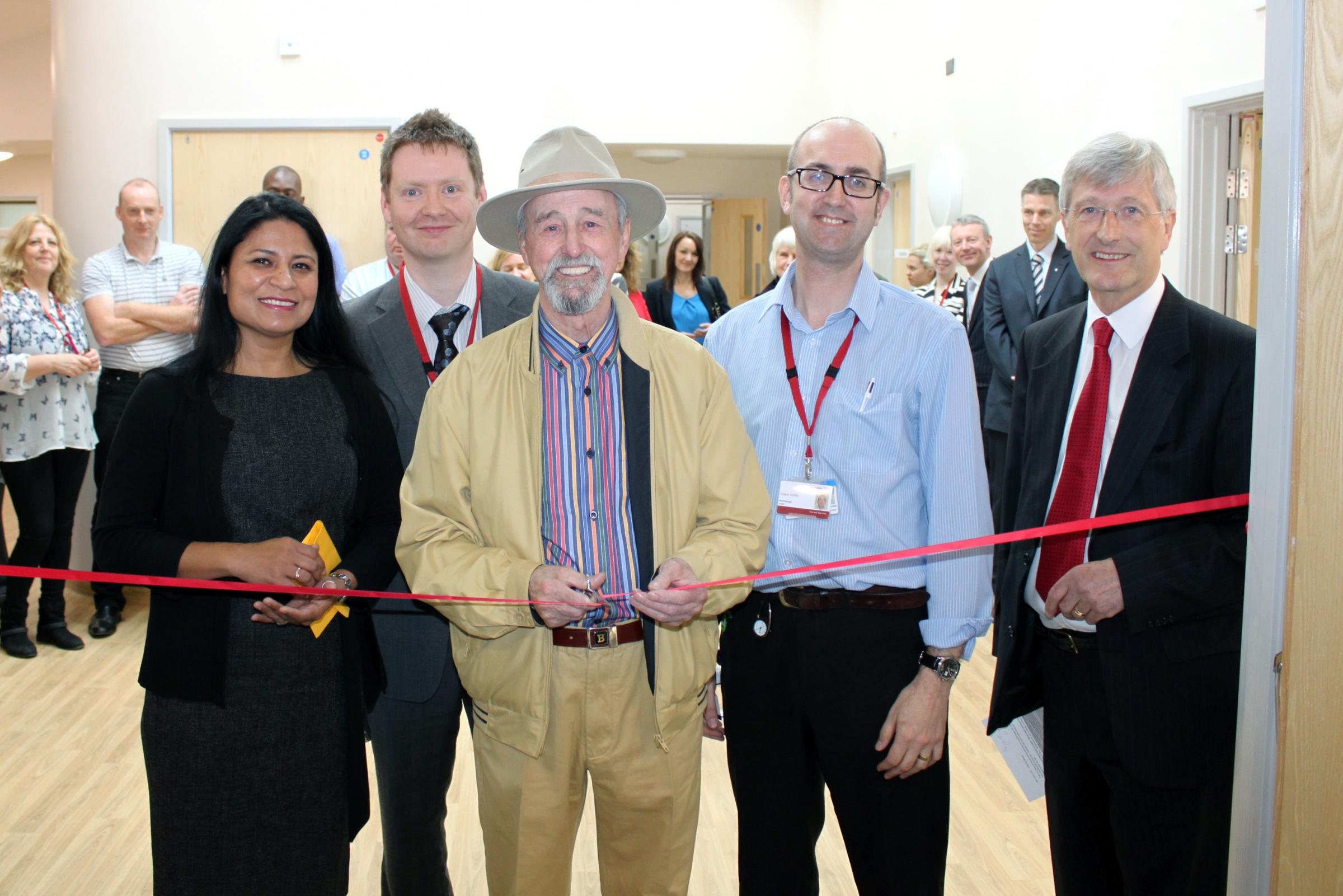 A new purpose-built health facility has opened in Airedale. Pic shows, from the left, consultant pyschiatrist  Shubhra Singh, building surveyor Phill Pyrah, Older People's Involvement Group member Brian Proctor, ward manager Shaun Griffin and trust ch