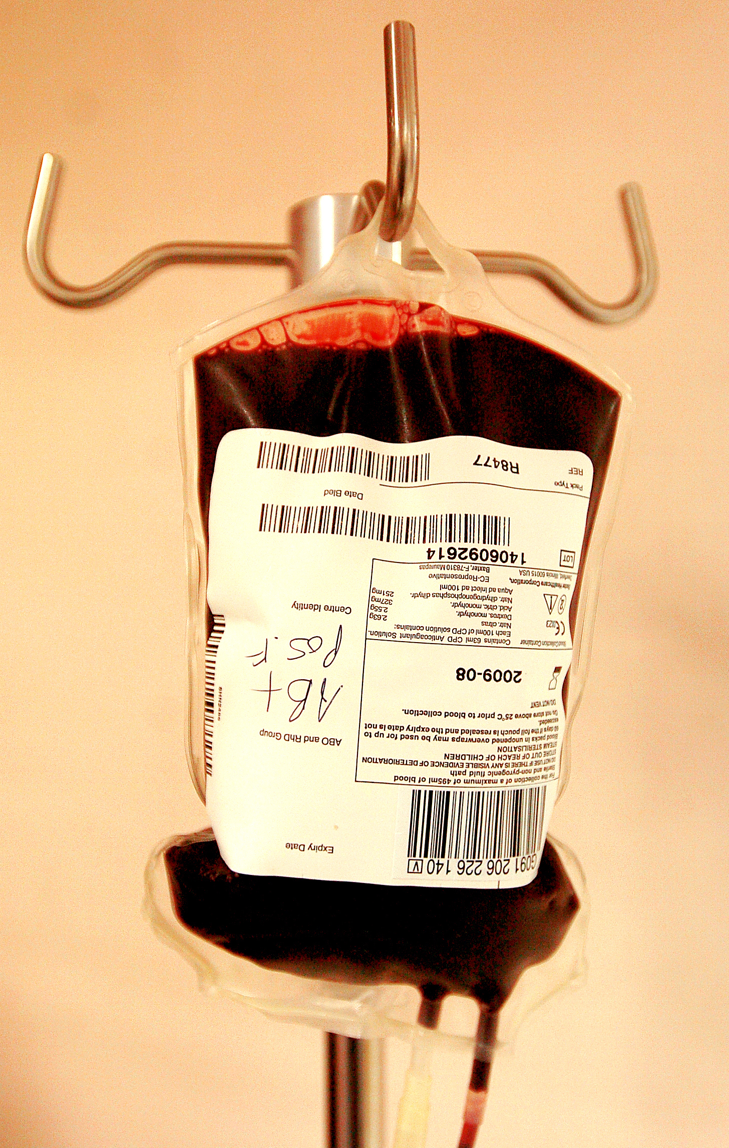 A bag of blood at a blood donor session