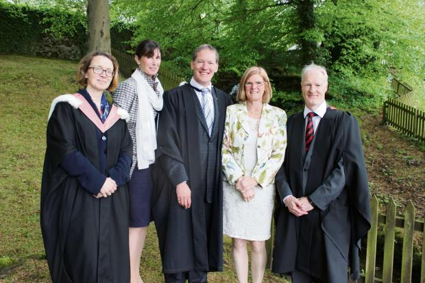 OFFICIAL LINE-UP: deputy head Sarah Williamson, chairman of the governors Heather Hancock, headmaster Geoffrey Boult and his wife Katie and deputy head Neil Gemmell