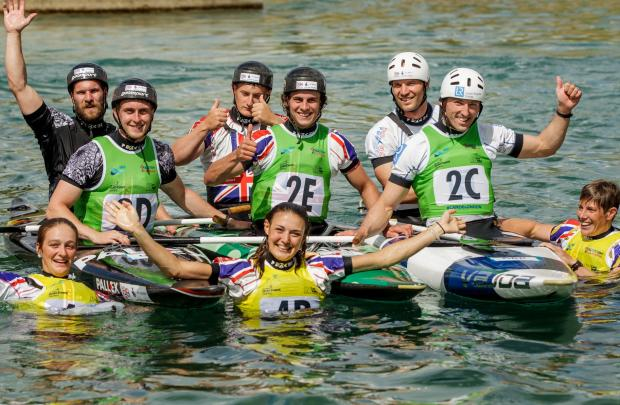 Cononley's Beth Latham, middle front, celebrates with the GB team in the World Cup at Lee Val