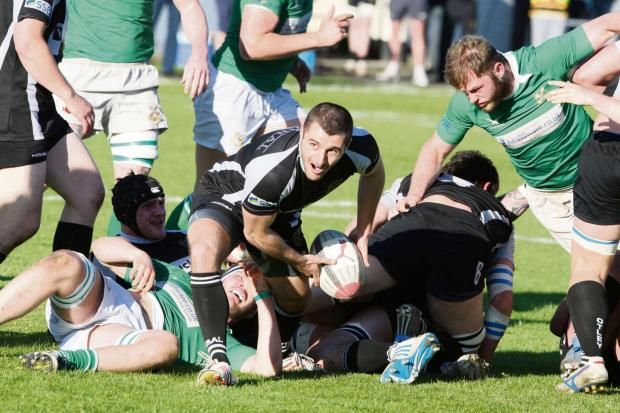 Craven Herald: Scrum half Stephen Depledge clears from a ruck