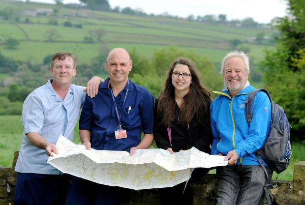 Peter Lawson and Martin Wiseman from Airedale NHS Foundation Trust and Ellie Schofield and Clive Mack, who are among those taking part in the national Three Peaks challenge