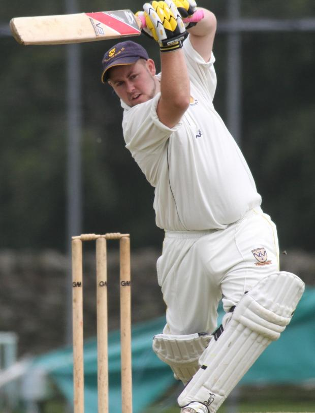 Craven Herald: Sutton batsman Dave Snowden hits out on his way to a top score of 50 against Oakworth II