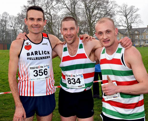 Craven Herald: Will Smith (centre) and Craig Shearer (right) were first and third in the Full Bronte 5