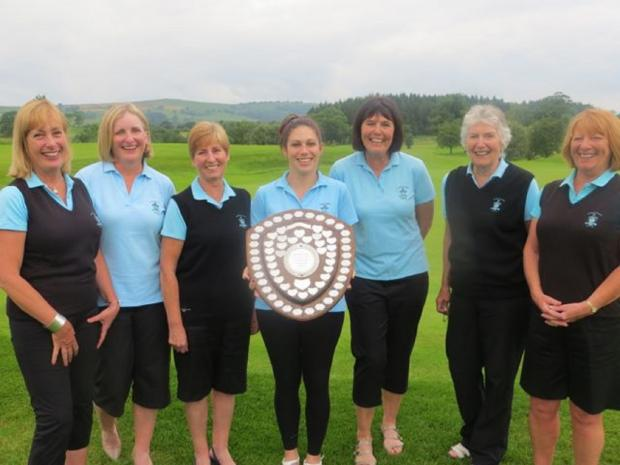 Kirkby Lonsdale's winning squad from left is: Chrissy Sheppey, Lyn Benson, Fliss Holloway, Lucy Carr, Vicky Yates, Daphne Peel and Sandy Stoker.