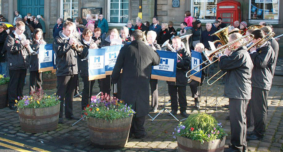 Skipton Brass Band playing at a previous Remembrance Day event