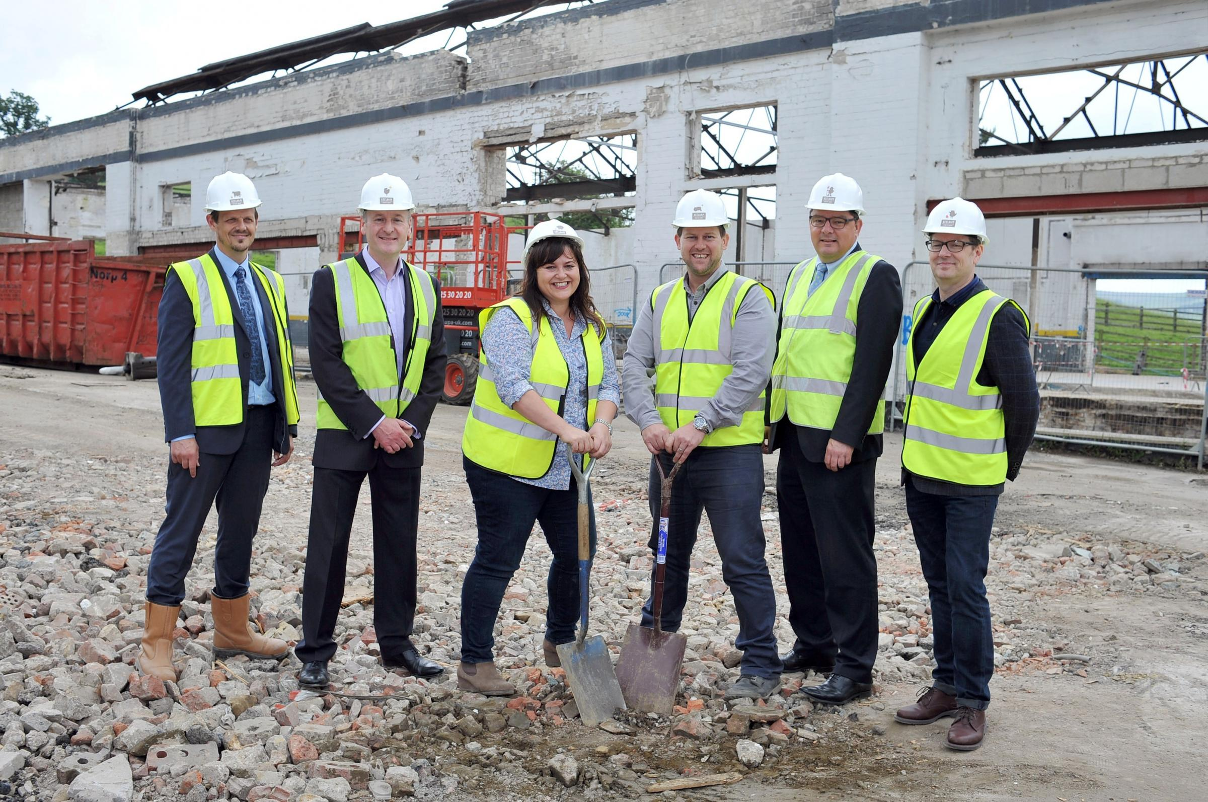 WORK STARTS: Lee Barnes, Martin Collier, Victoria Robertshaw, James Robertshaw, Gary Smith and Ian Thompson. Picture by Roger Moody