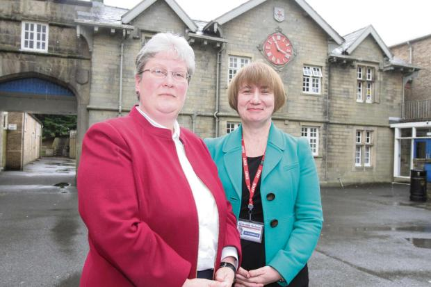 Craven Herald: Aireville School's  new headteacher Wendy Hamilton with acting head Helen Woodcock. (7915540)