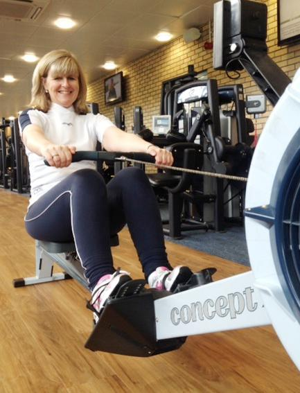 Jo Moseley on the rowing machine