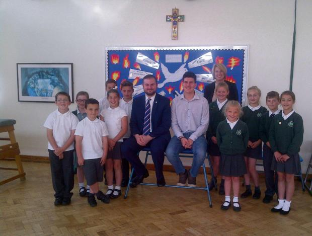 Pendle MP Andrew Stephenson and Barnoldwick councillor Lyle Davy visted St Joseph's Primary School to hear about their hopes for expanding the school.
