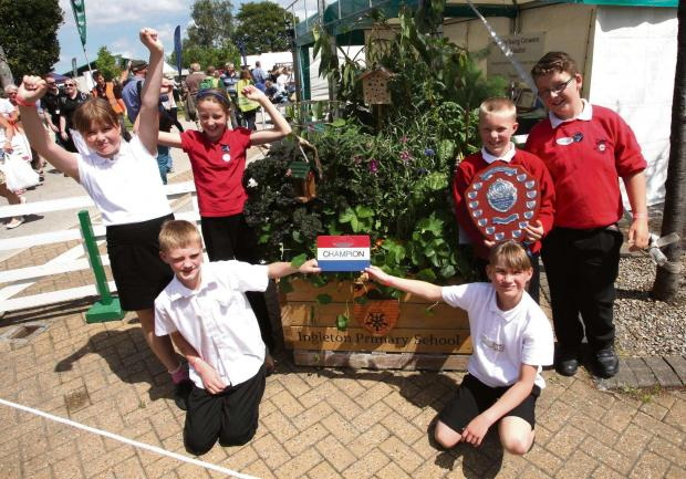 Great Yorkshire Show 2014.... Veg Box overall winners Ingleton Primary school. Pictured, from the left, rear, Olivia Faraday, Charlotte Lewis, Tommy Cockett and Ben Allan and, front, Charlie Metcalfe and Eleanor Stapleton