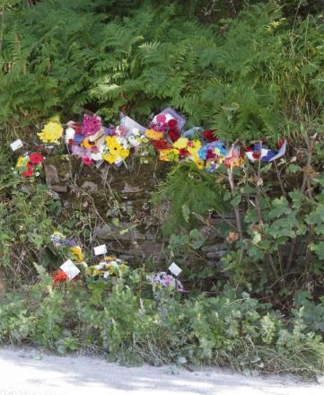 Flowers at the crash scene