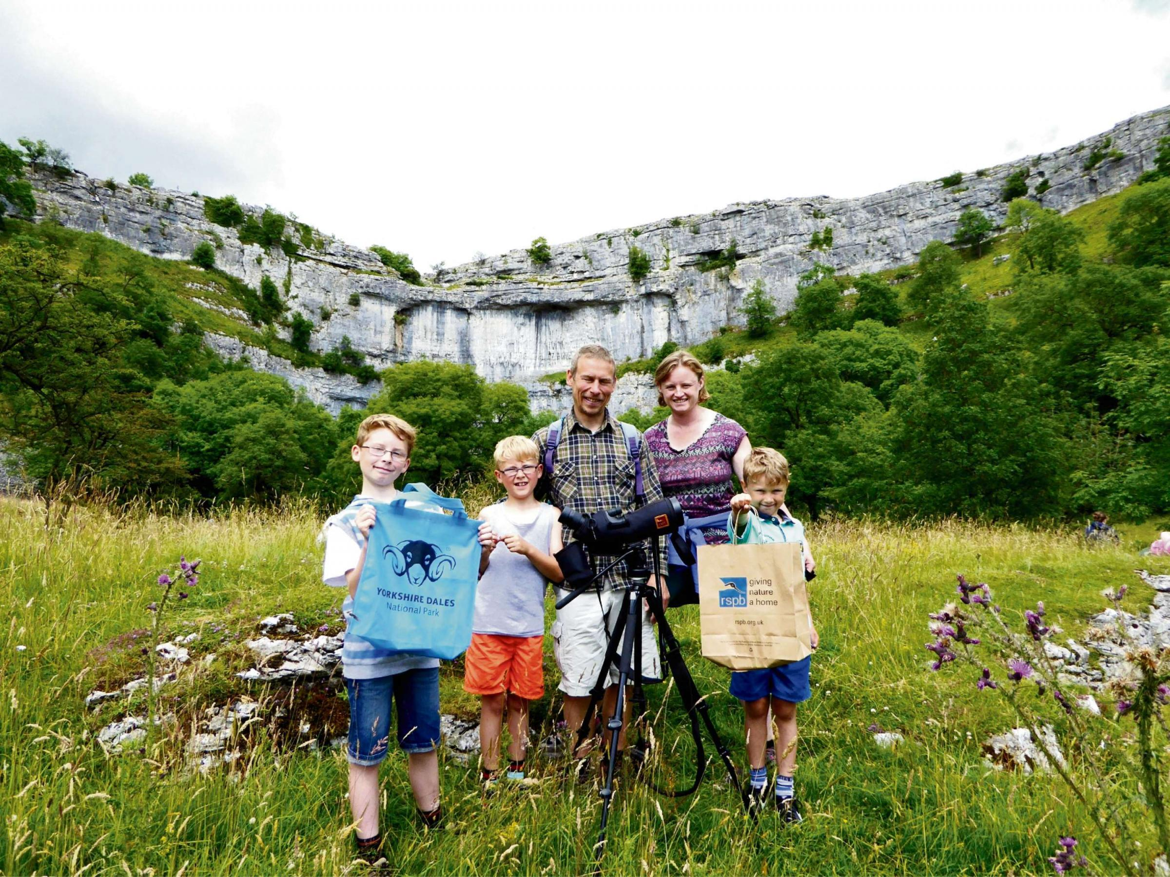 John and Lindsey Eccles and their children. Please credit photo courtesy of the Yorkshire Dales National Park Authority.
