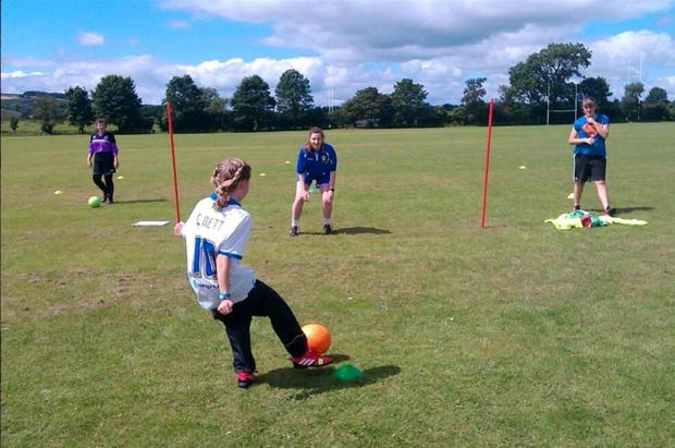 IN ACTION: Skipton Town Girls take part in a sponsored dribble-a-thon